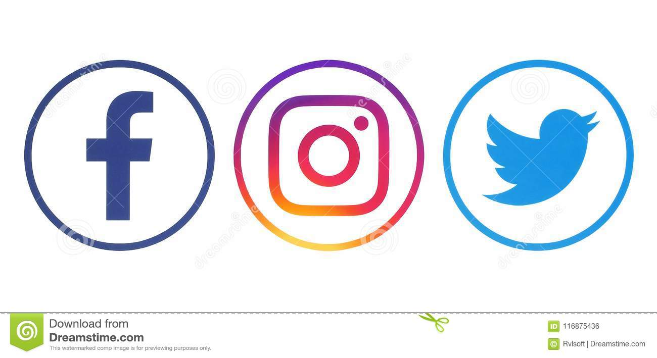 Facebook, Twitter And Instagram Logos Editorial Photo.