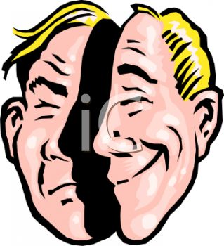 Royalty Free Clipart Image: Cartoon Depicting the Metaphor Two Faced.