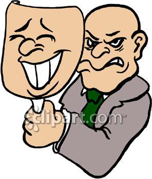 Two Faced Man Clip Art.