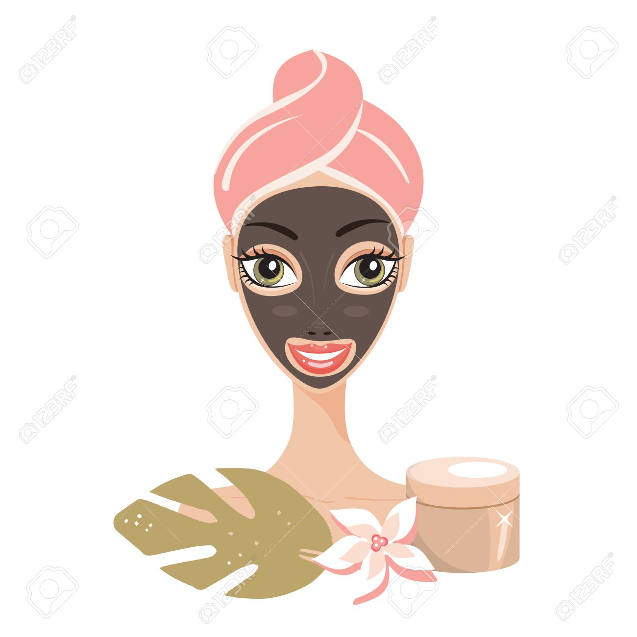 Beautiful happy woman with face mask Spa Skin care concept.