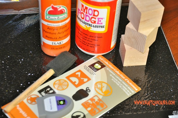 Quick & Easy Mod Podge Pumpkin Blocks.