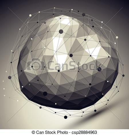 Clip Art Vector of 3D shaded modern complicated abstract.