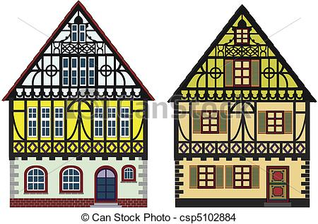 Clip Art of Two old cottages, farm houses.