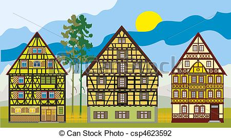 Clip Art of Three cottages, farm.