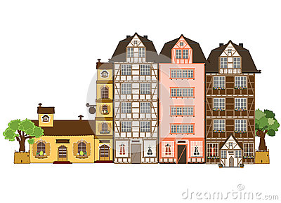 Color Vector Flat Illustration Of City Stock Vector.