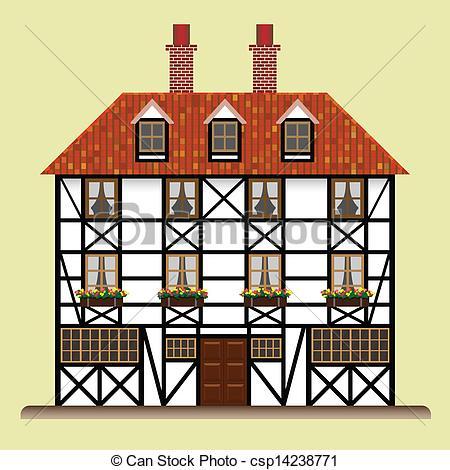 Vectors Illustration of fachwerk house traditional cottage.