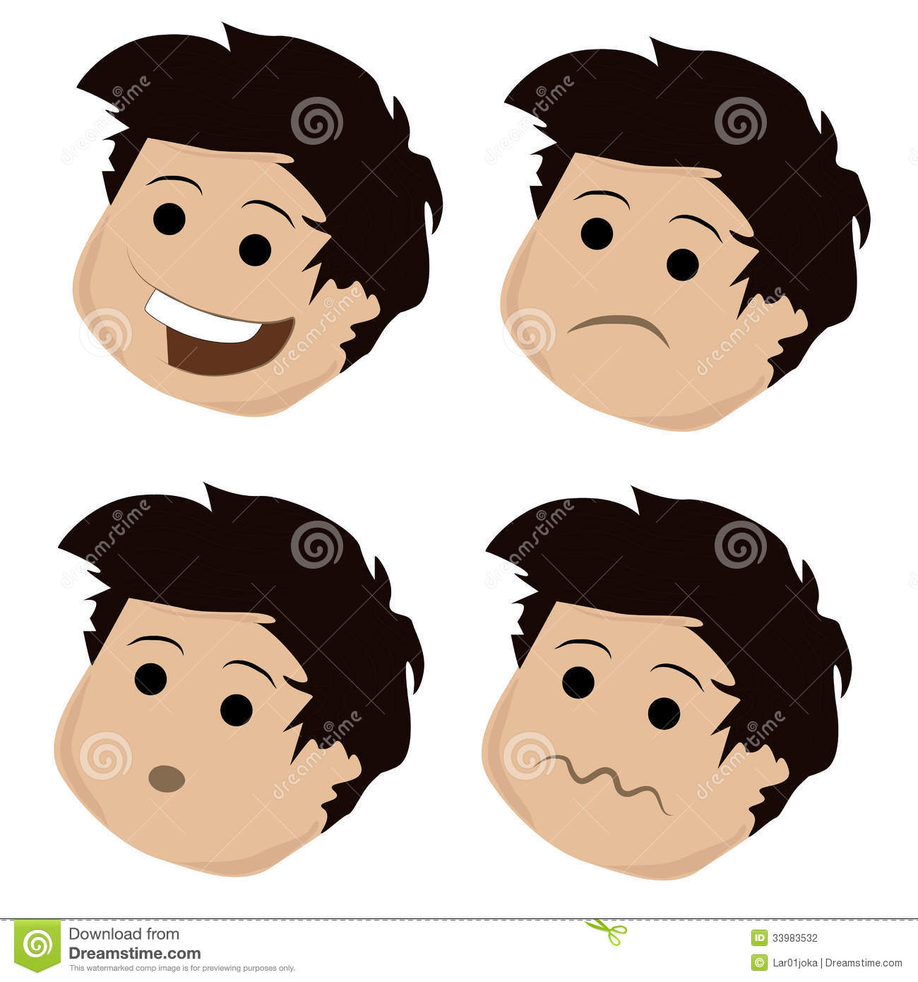 Four Facial Expressions Royalty Free Stock Image.