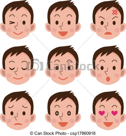 Vector Clip Art of Facial expression of male.