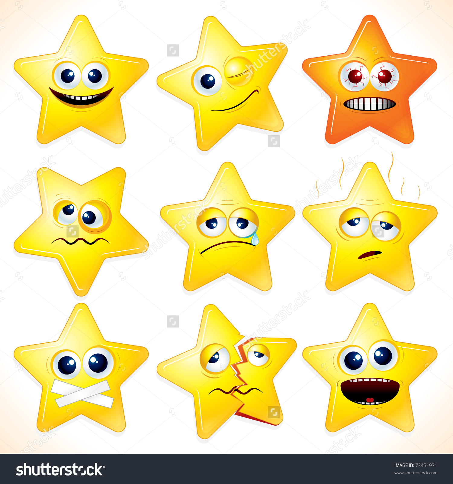 Smiley Cartoon Stars Clip Art Various Stock Vector 73451971.