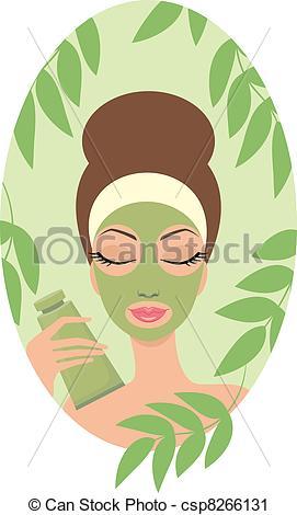Vector Clip Art of Woman with facial mask csp8266131.