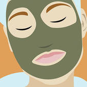 Stock Illustration of Woman with a green facial mud mask u30940879.