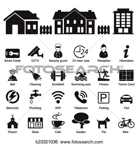 Clip Art of village hotel and home Services and Facilities Icon.