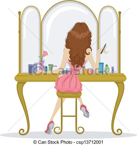 Vector Clipart of Back View of a Prom Queen facing a Mirror.