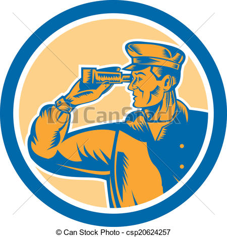 Clipart Vector of Fisherman Sea Captain Binoculars Circle Retro.