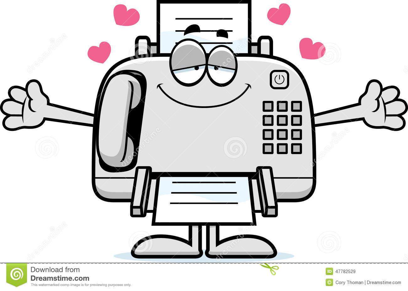 Happy Cartoon Fax Machine Stock Vector.