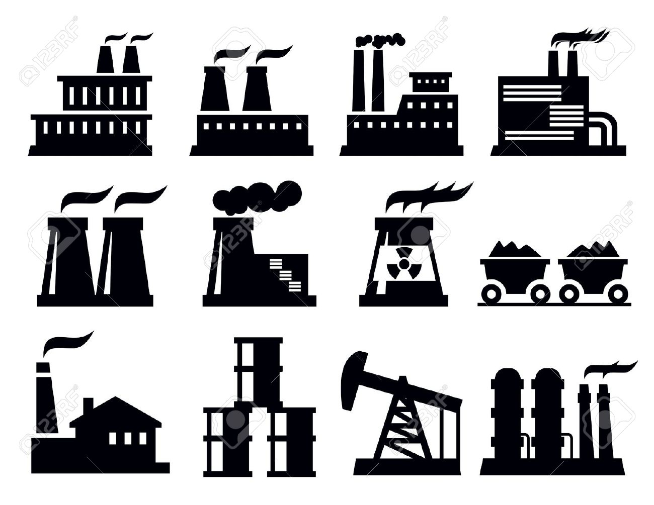 Building Factory Icon Royalty Free Cliparts, Vectors, And Stock.