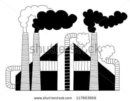 Black White Chimneys Factory Producing Harmful Stock Vector.