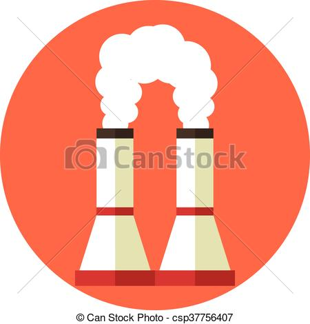 Vector Clipart of Air pollution. Factory chimney. Global warming.
