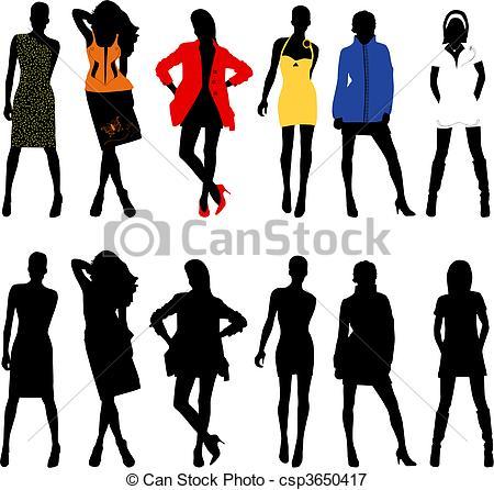Vectors Illustration of Silhouette fashion girls csp3650417.
