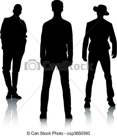 Fashion silhouette man men clothes shoes model vogue fad Vector.