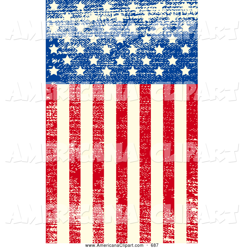 Faded american flag clipart.
