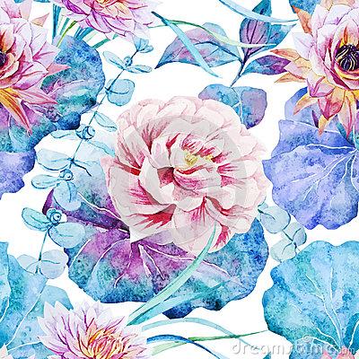 Faded Lotus Flower Blossom Pink Stock Illustrations, Vectors.