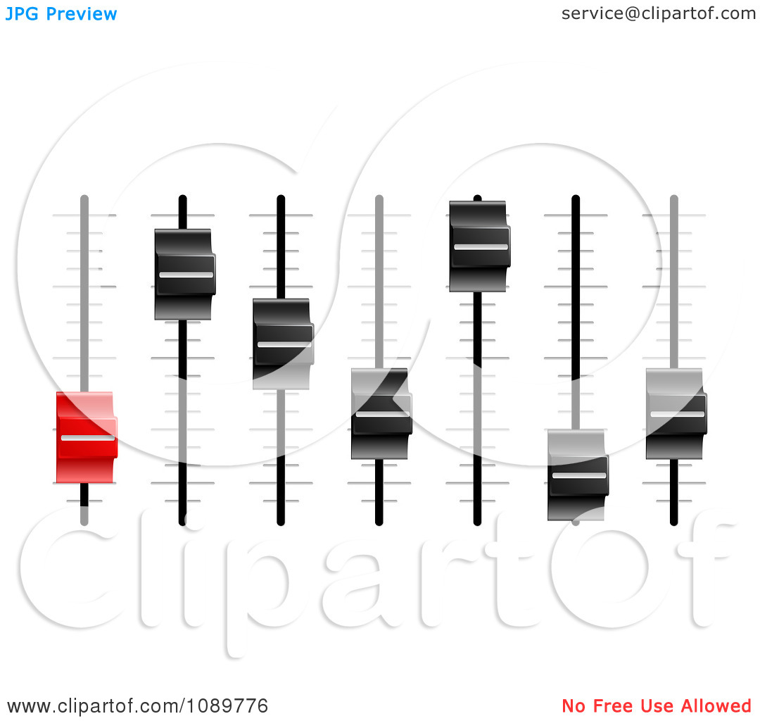 Clipart 3d Red And Black Slider Or Fader Control Knobs.