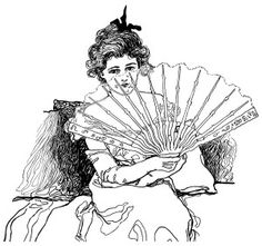 Victorian ladies fan, vintage ladies fan clipart, black and white.