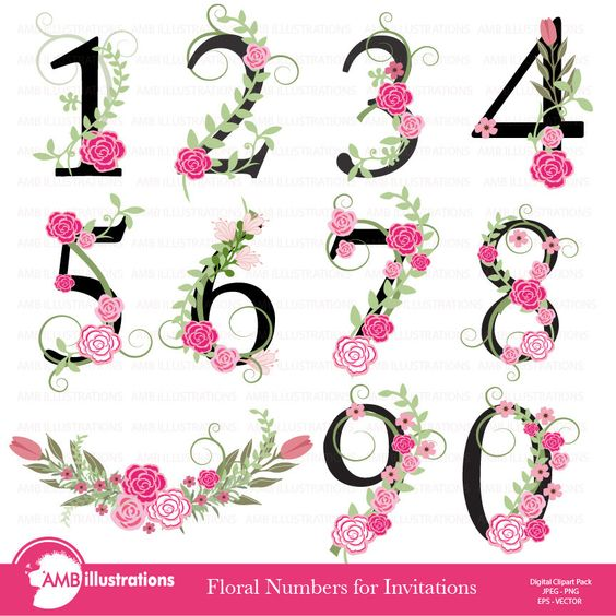 80% OFF Floral Numbers clipart Numerical clipart Floral clipart.