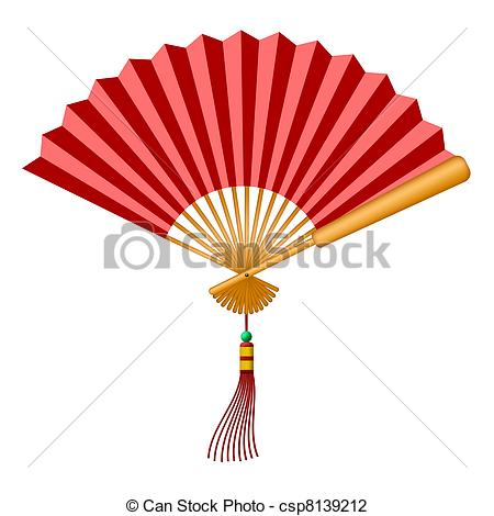 Clip Art of Chinese Fan with Tassel and Jade Bead.