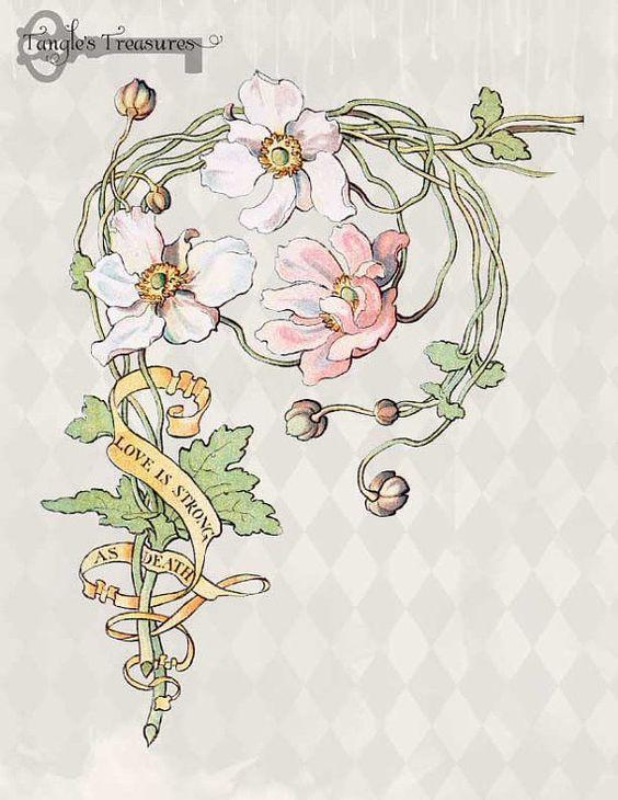 Vintage Art Nouveau Watercolor Anemone Clipart Set: Commercial Use.