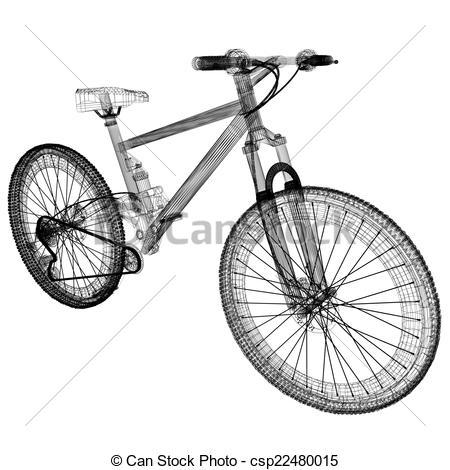 Clipart von draht, Fahrrad, Rahmen, gegenstand, Freigestellt, 3D.