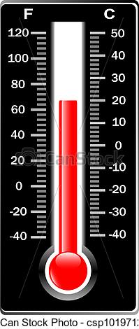 Vector Illustration of Thermometer. Vector. Celsius and Fahrenheit.