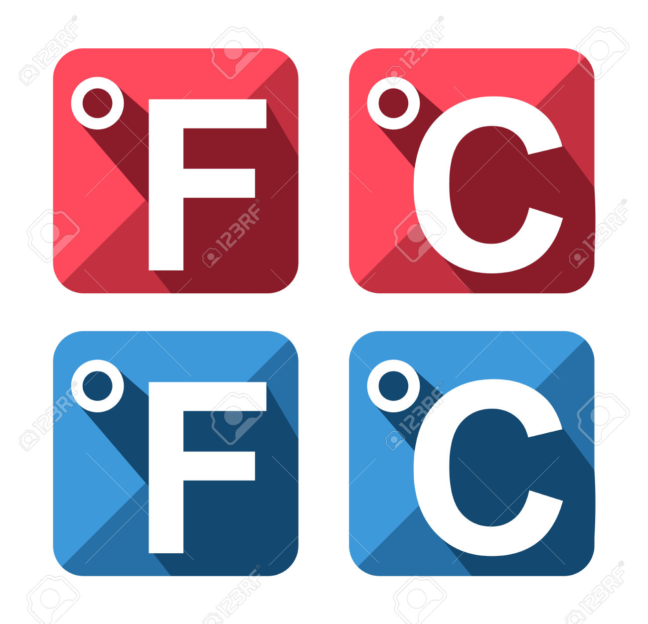 Celsius And Fahrenheit Symbol Icon Set Royalty Free Cliparts.