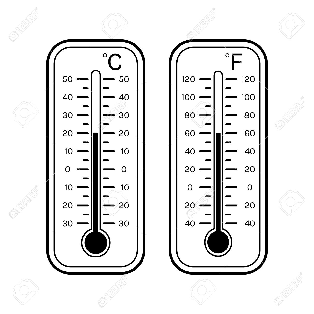 Linear flat icons of thermometers for weather. Scale Celsius.