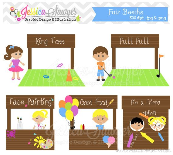 INSTANT DOWNLOAD, booth clipart, fair clip art, school.