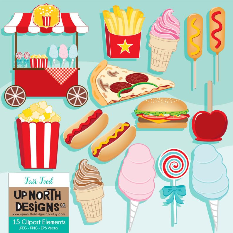 Fair Food Clipart Hamburger Clipart popcorn illustration pizza hotdog  cotton candy apple corn dog clipart french fries Personal Commercial.