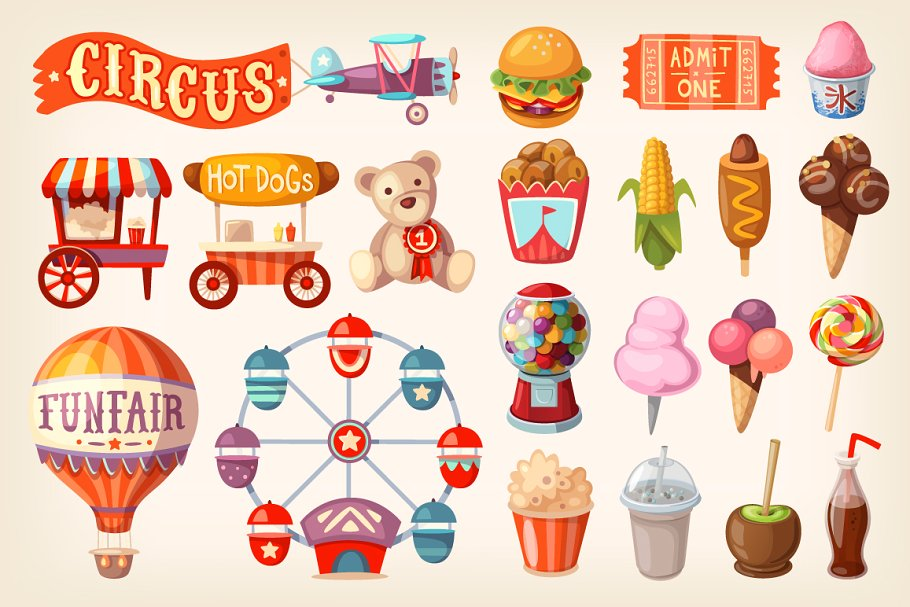 Set of fun fair food and elements.