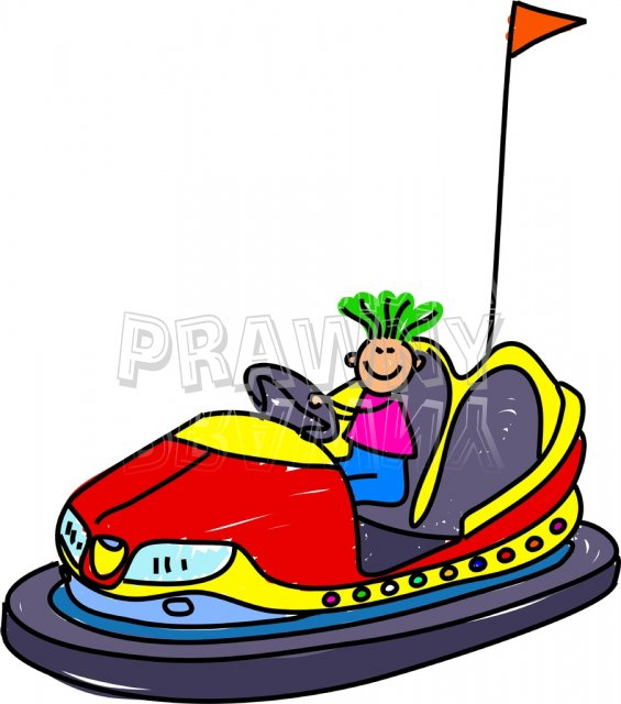 Toddler Art Fairground Dodgem Kid Prawny Clipart.