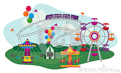 Fairground Rides Stock Illustrations.