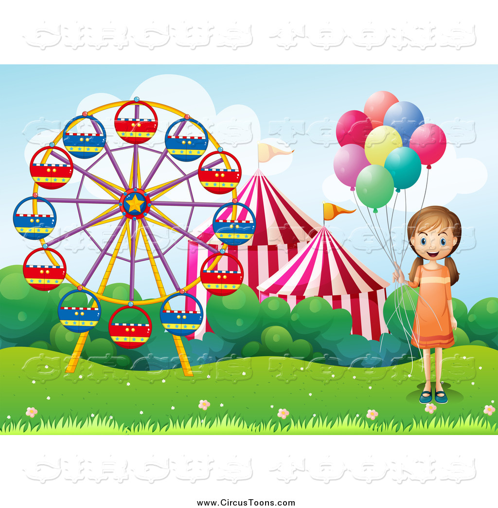 Circus Clipart of a Girl with Balloons at Carnival Fairgrounds by.