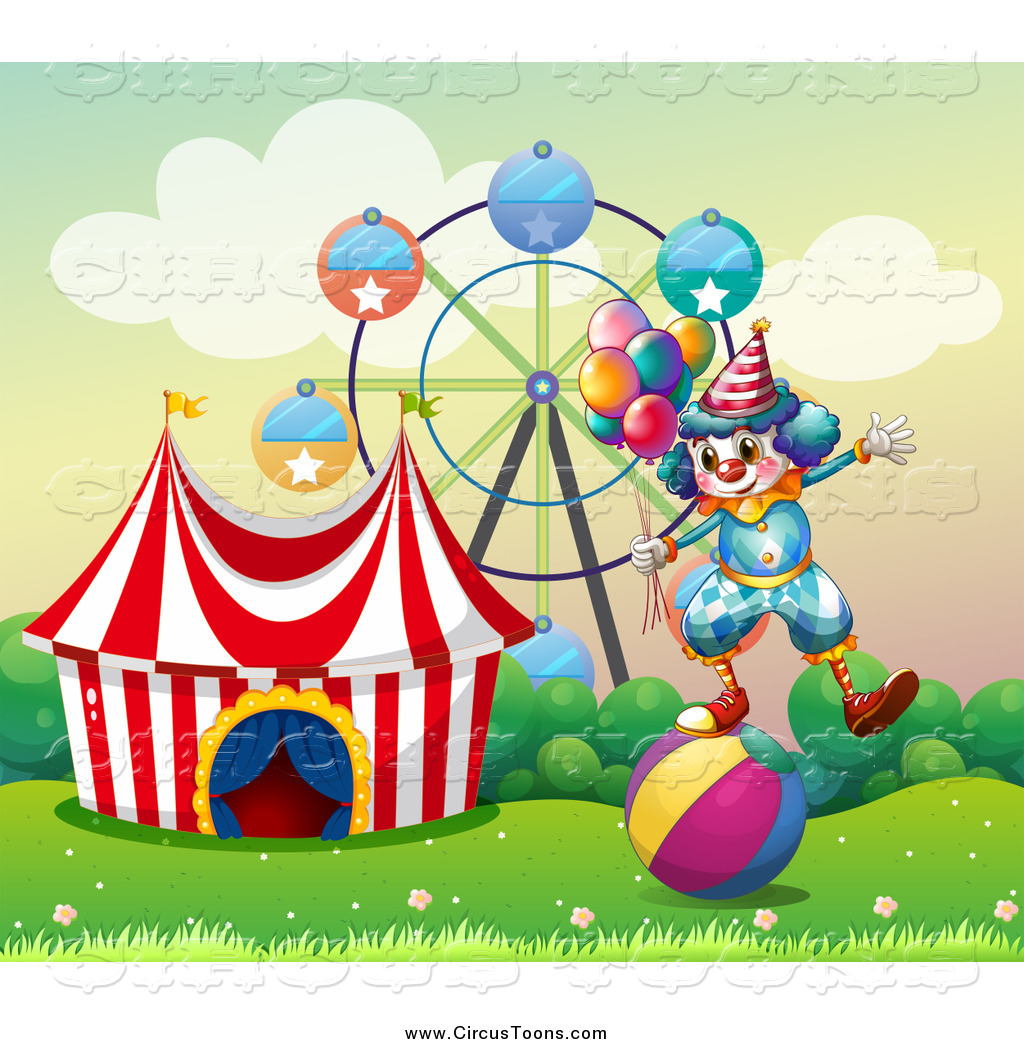 Circus Clipart of a Clown Balancing with Party Balloons on a Ball.