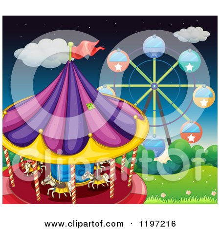 Cartoon of a Ferris Wheel and Carousel at the Fairgrounds.