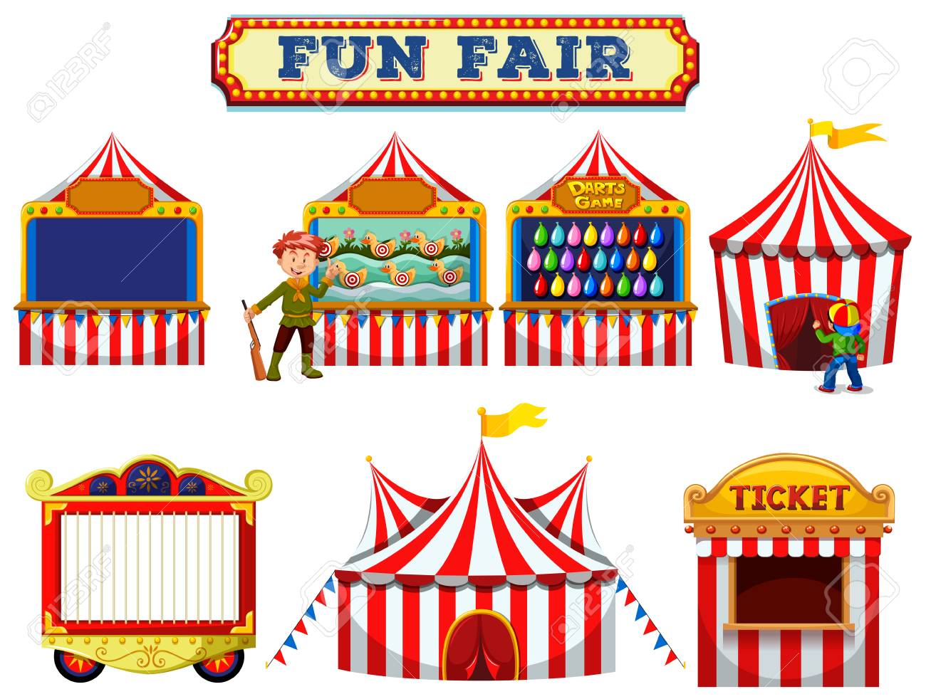 A Set of Fun Fair Tent illustration.