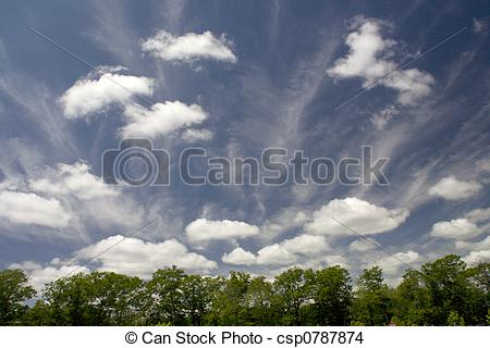 Stock Photo of Fair Weather Clouds on a summer day, cumulus.