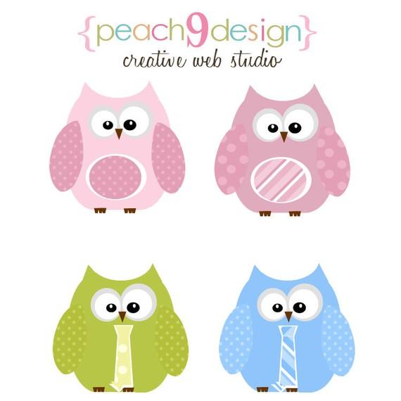 Pastel Owls Digital Clip Art DIY Printable, Scrapbooking, Card.