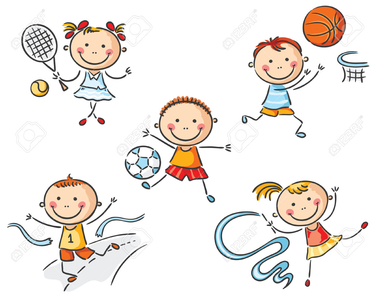 Happy Kids Going In For Sport Royalty Free Cliparts, Vectors, And.