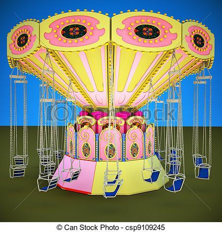 Stock Illustrations of Fairground Carousel csp9109245.