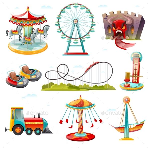 Amusement Park Attractions Flat Icons Set.