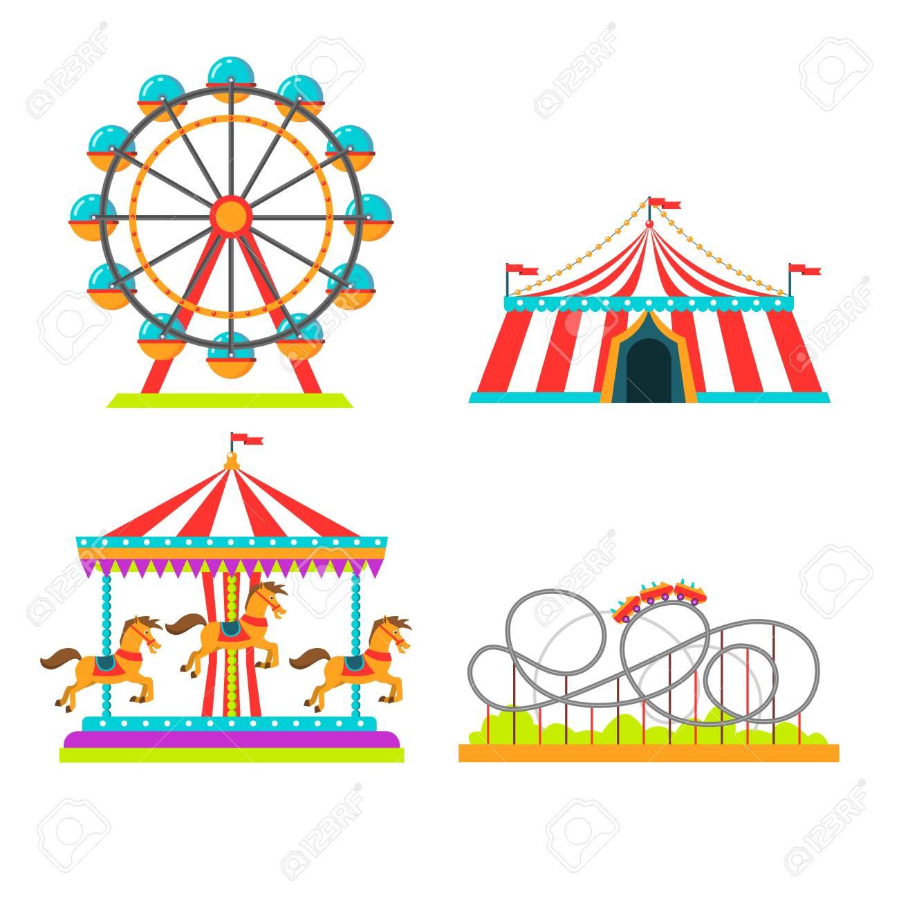 Amusement park attractions rides vector illustration. Circus...
